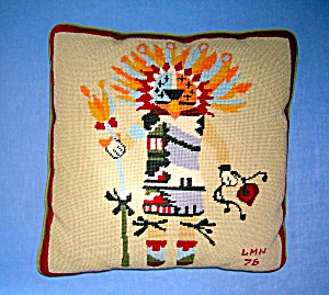 NEEDLE POINT KACHINA DOLL PILLOW signed (Image1)