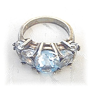 Sterling Silver & Aqua Crystal Ring . . . . . . . . . .
