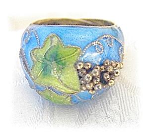 Silver Blue & Green Enamel Ring Grape cluster . . . . . (Image1)