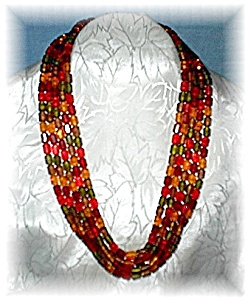 West German Lucite Orange Green Gold 5 Row Necklace (Image1)