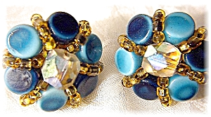 Blue Glass Goldtone Set Clip Earrings Japan