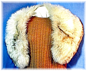 Luxurious Vintage Silver Fur Collar. (Image1)