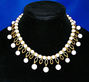 KRAMER White Lucite and Golden Teardrop Necklace (Image1)