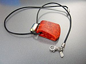 Silpada Apple Coral Sterling Silver Leather Necklace (Image1)