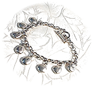 Sterling Silver Toggle Clasp Charm Bracelet