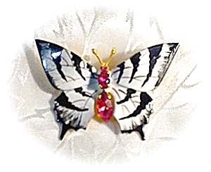2 Butterfly Brooches Made In Czechoslovakia