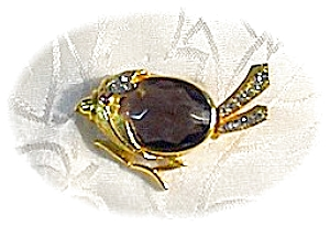 Rhinestone Smokey  Topaz  Glass Goldtone Bird Pin (Image1)