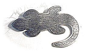 Signed Jj 1988 Pewter Lizard Pin Brooch