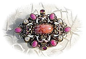 Enamel Filigree Pink Crystal Brooch AUSTRIA (Image1)