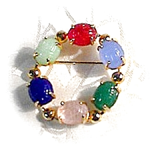 Goldtone Multi Glass Jewel Scarob Brooch/Pin (Image1)
