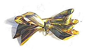 Sterling Silver Gold Vermeil  Bow Watch Pin (Image1)
