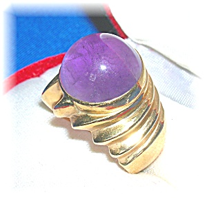 Ring 14K Yellow Gold Cabochon Amethyst (Image1)