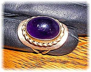 Ring 14k Gold Deep Purple Oval Cabochon Amethyst