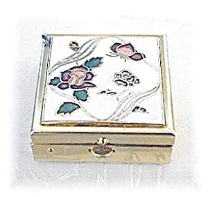 Small Goldtone White Enamel & Roses Pill Box (Image1)