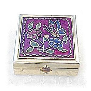 Small Goldtone & Red Enamel Pill Box (Image1)