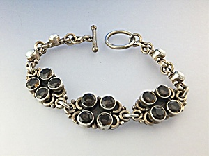 Sterling Silver Smoky Topaze Pearls Toggle Bracelet  (Image1)
