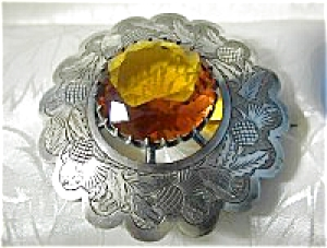 HUGE Scottish Brooch Sah Pin Amber Glass Stone (Image1)