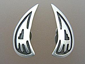 Sterling Silver Hopi Clip Earrings Vintage (Image1)