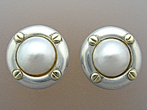 Earrings Sterling Silver 18K Gold Mabe pearl Clip  (Image1)