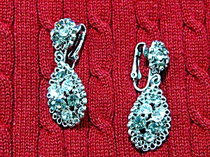 Silver Filgree Crystals Dangling Clip Earrings (Image1)