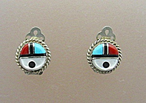 Sterling Silver Mother Pearl Coral Onyx Turquoise Clip (Image1)