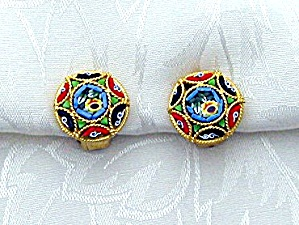 Italian Glass Mosaic Goldtone Clip Earrings (Image1)