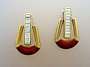 Swarovski Crystal Red Enamel Hinged Clip Earrings (Image1)