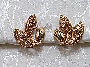 Earrings Gold Filigree Corocraft Clip  (Image1)