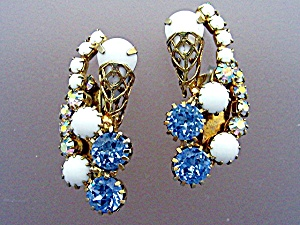 HOBE Gold Filigree Blue Crystal Glass Clip Earring (Image1)