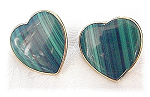 14K Gold Malachite Large Heart Clip Earrings  (Image1)