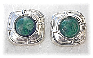 Sterling Silver & Green Cabochon Clip Earrings