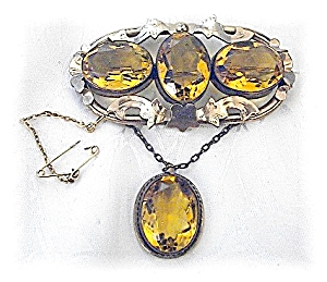 Antique Gold Fill Huge Citrine Pendant Brooch (Image1)
