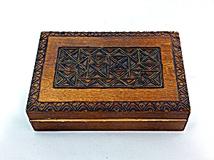 Carved wooden box hinged with brass inlay (Image1)