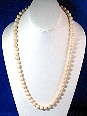 Angelskin Coral Necklace 26 Inches 10mm Beads Rare