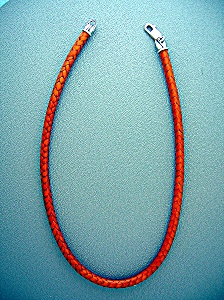 Sterling Silver Woven Leather Necklace Golden Tan