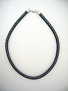 Sterling Silver Black Woven Leather Necklace (Image1)