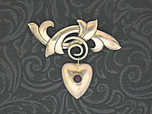 Sterling Silver Mexico Heart Amethyst Brooch Pin (Image1)