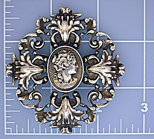 Brooch Sterling Silver CINI Cameo Pin large (Image1)