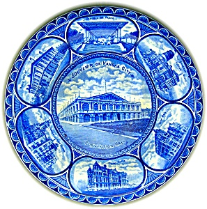 FLOW BLUE STAFFORDSHIRE SOUVENIR PLATE KANSAS CITY (Image1)