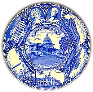 FLOW BLUE STAFFORDSHIRE SOUVENIR PLATE WASHINGTON, DC (Image1)