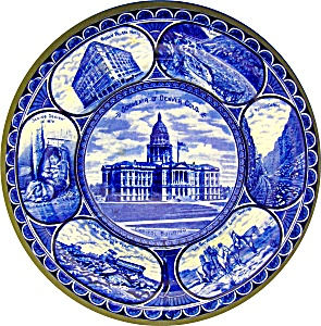 FLOW BLUE STAFFORDSHIRE SOUVENIR PLATE DENVER, CO...... (Image1)