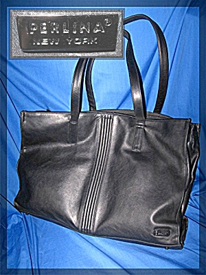 Perlina of New York black  leather business travel bag (Image1)