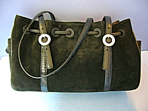Black Suede Leather Brighton Rose Lined Purse Bag