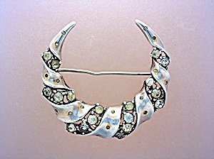 Sterling Silver Crown TRIFARI Crystal Crescent Brooch P (Image1)