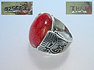 Sterling Silver  Sponge Red  Coral Ring Thailand (Image1)