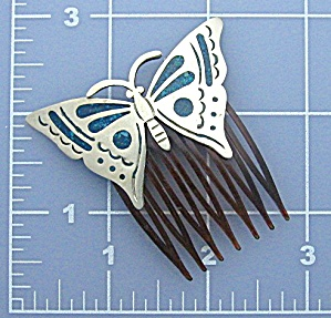 Silver Turquoise inlay butterfly Hair Comb (Image1)