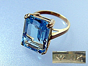 Ring 14K Gold Blue Square Topaz (Image1)