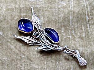 Sterling Silver Cabochon Amethyst Artist Brooch Pin (Image1)