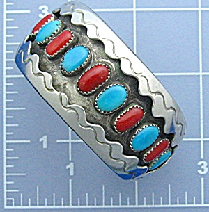 Native American Coral Turquoise Silver Cuff USA (Image1)