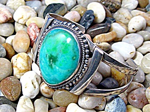 Native American Turquoise Sterling Silver Cuff Bracelet (Image1)